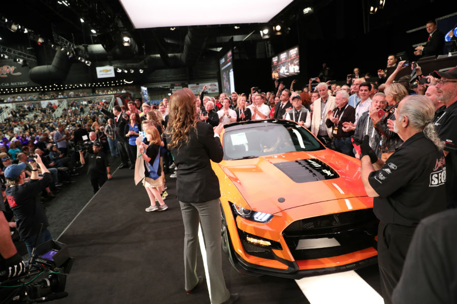 orange 2020 Ford Mustang Shelby GT500 being auctioned