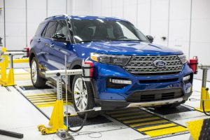 safety tests run on a blue 2020 Ford Explorer