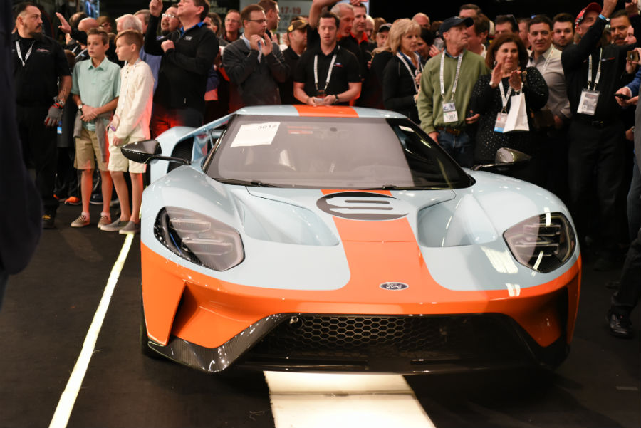 white and orange 2019 Ford GT Heritage Edition being auctioned