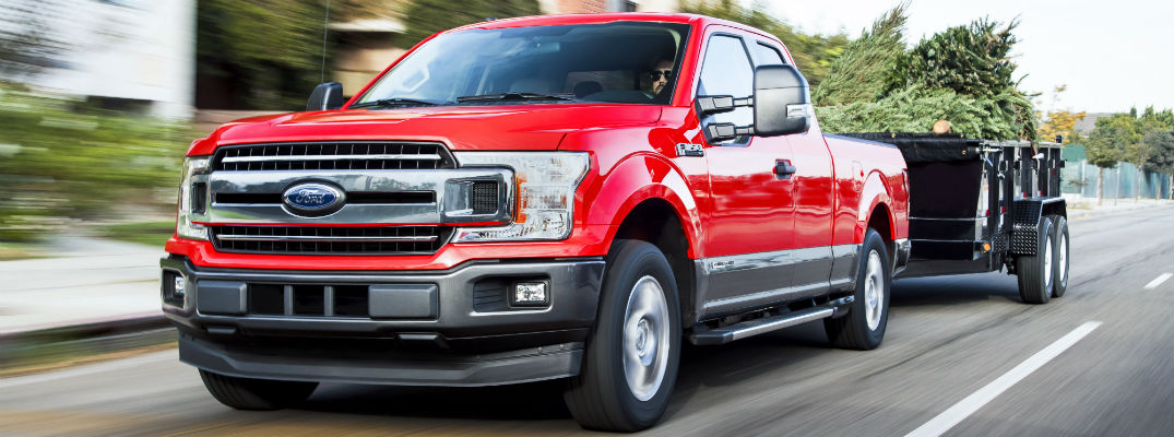 front view of a red 2018 Ford F-150