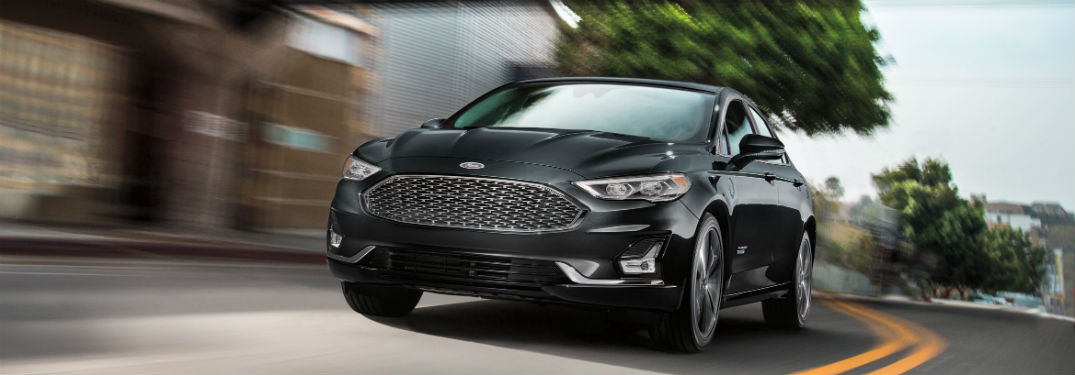 front view of a black 2019 Ford Fusion Energi