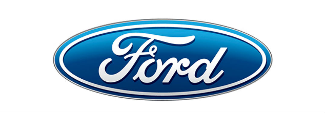 classic blue Ford logo with white background