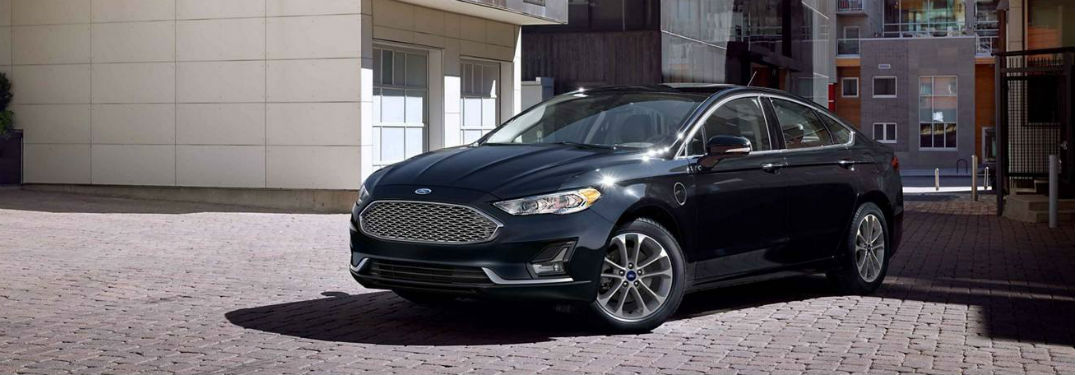 side view of a black 2019 Ford Fusion