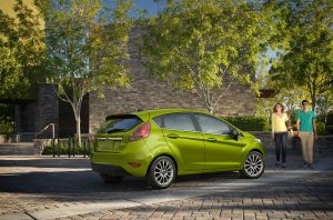 side view of a green 2019 Ford Fiesta Hatchback