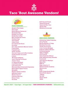 vendor list for the 2019 Tampa Taco Fest