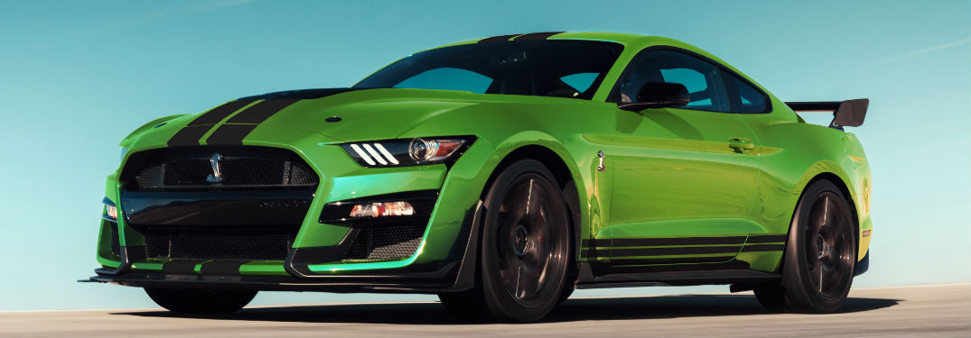side view of a Grabber Lime 2020 Ford Mustang
