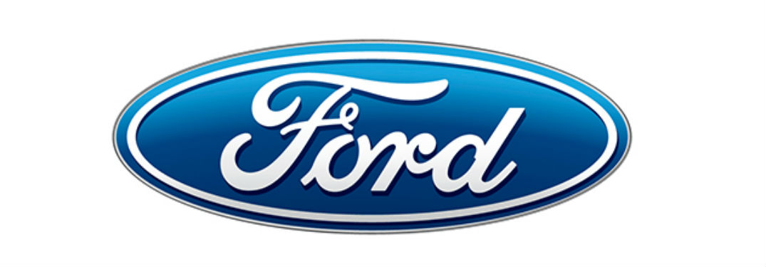classic blue Ford logo and white background