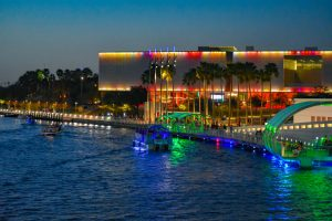 Tampa riverfront colorfully lit up at night
