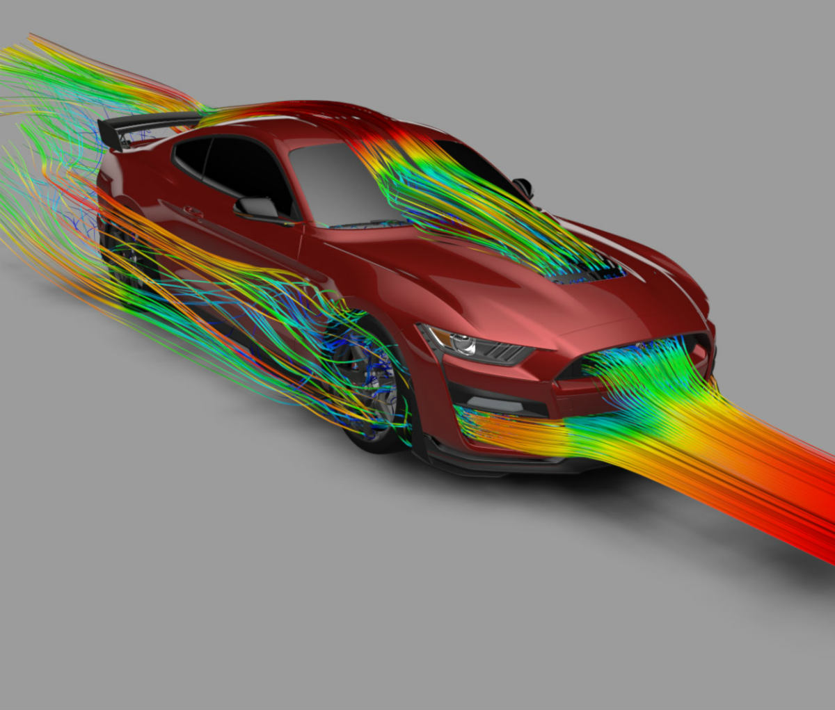 computer rendering of the aerodynamics of a 2020 Ford Mustang Shelby GT500