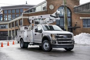 front view of a white 2020 Ford F-600 Super Duty
