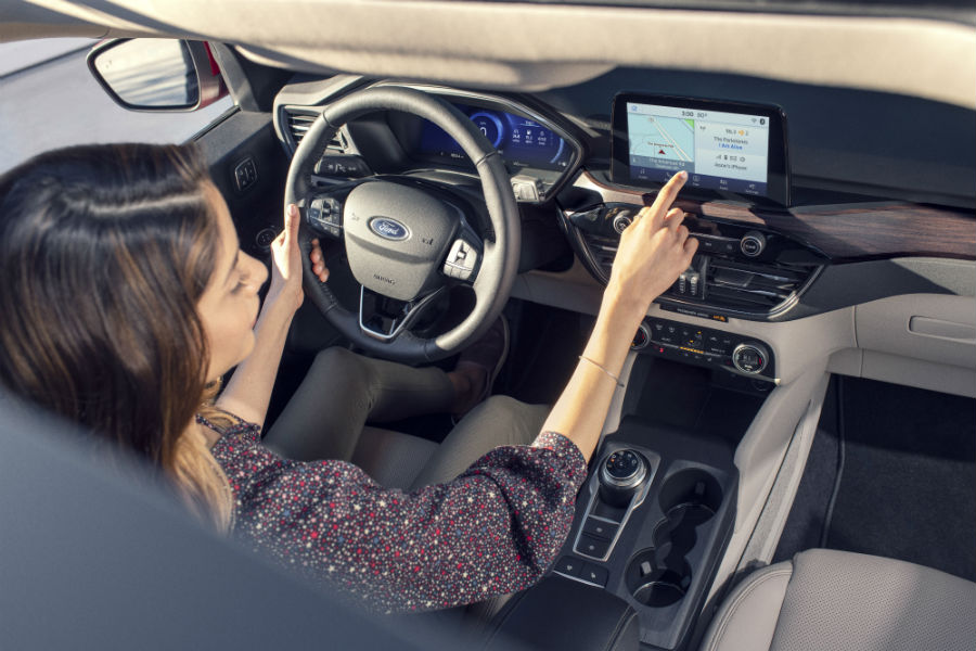 high-angle view of the front interior of a 2020 Ford Escape