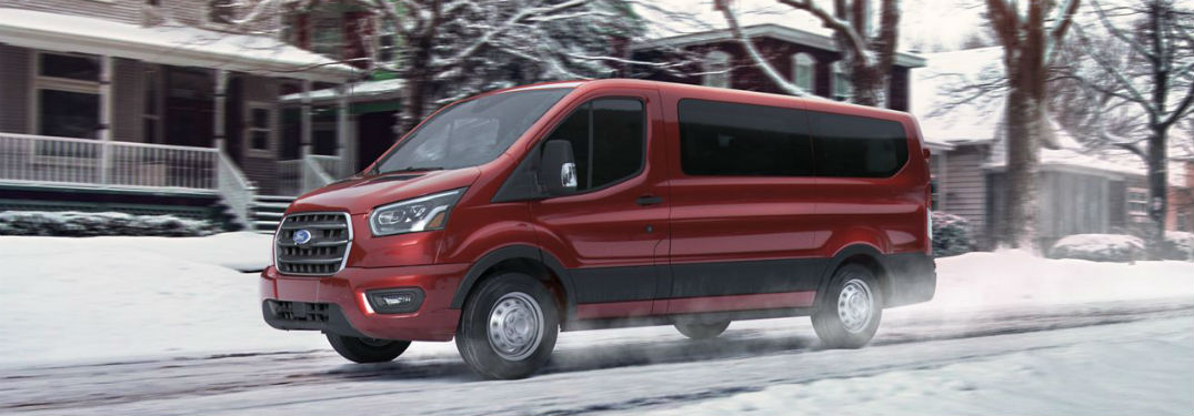 side view of a red 2020 Ford Transit