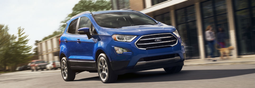 font view of a blue 2019 Ford EcoSport