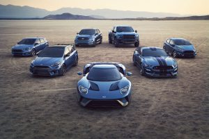 blue colored versions of the Ford Performance model lineup