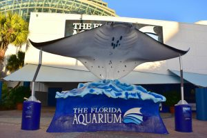 stingray statue and Florida Aquarium sign