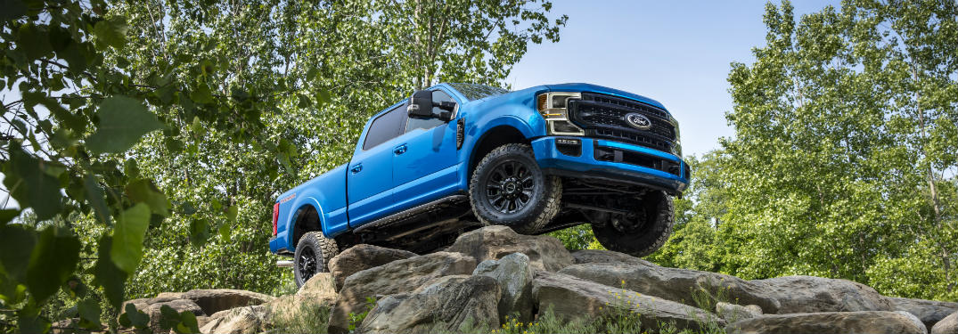 side view of a blue 2020 Ford Super Duty