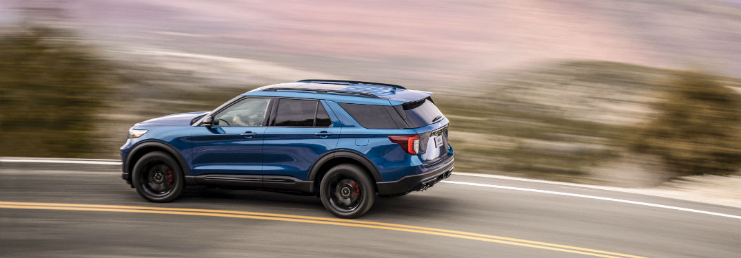 side view of a blue 2020 Ford Explorer