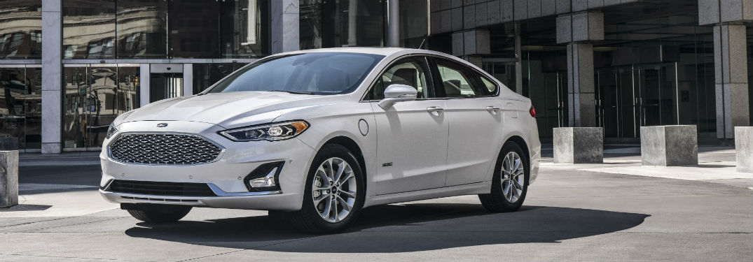 side view of a white 2019 Ford Fusion