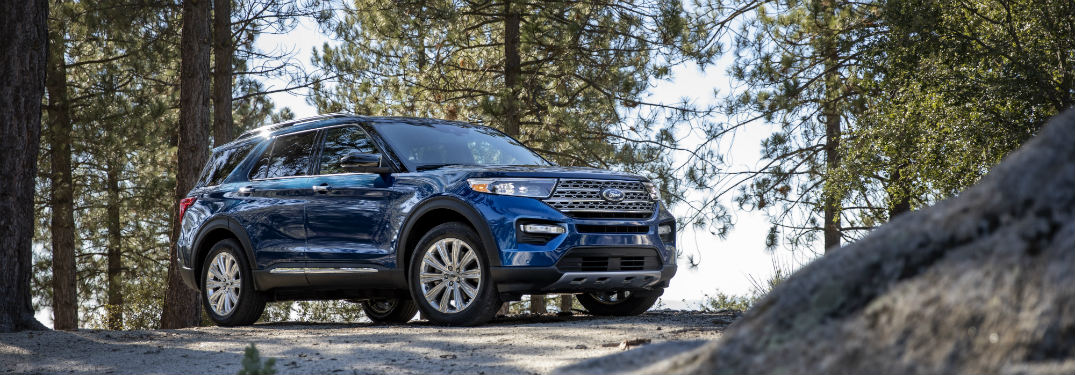 front view of a blue 2020 Ford Explorer