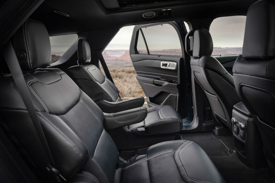 second row passenger space in a 2020 Ford Explorer