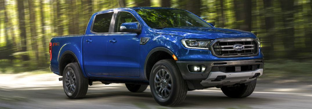 side view of a blue 2019 Ford Ranger