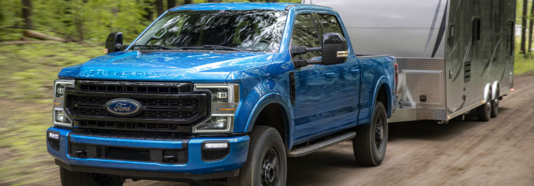 front view of a blue 2020 Ford Super Duty