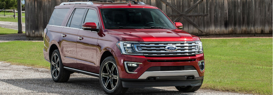 front view of a red 2019 Ford Expedition