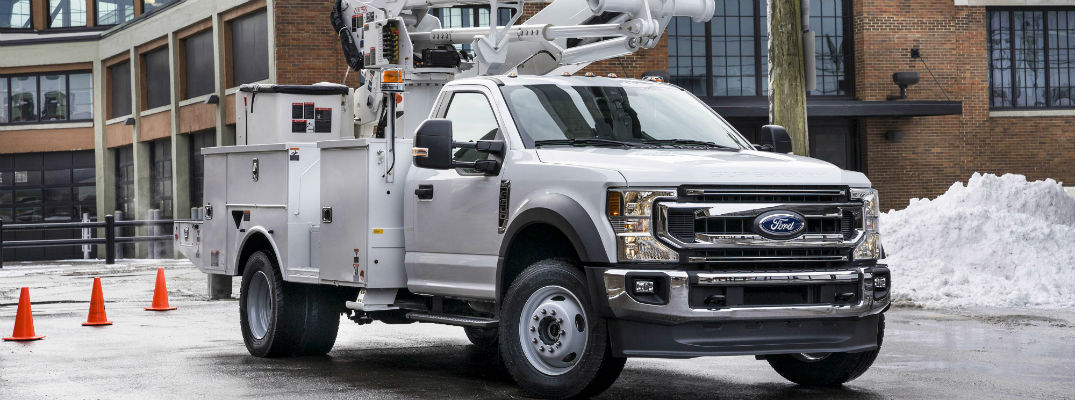 side view of a white 2020 Ford Super Duty Chassis Cab