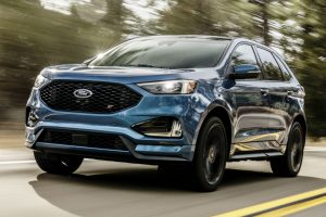 front view of a blue 2019 Ford Edge ST