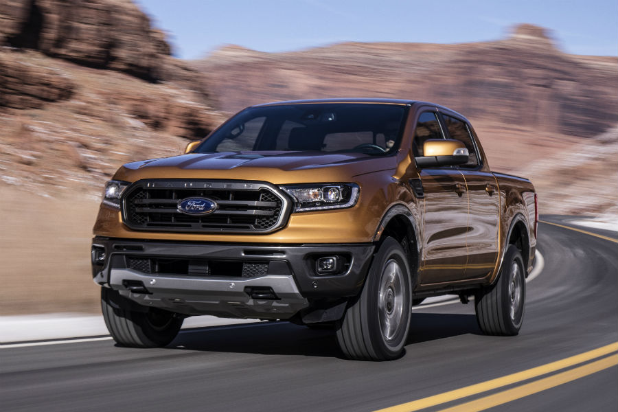 front view of a gold 2019 Ford Ranger
