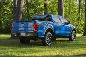 rear view of a blue 2019 Ford Ranger