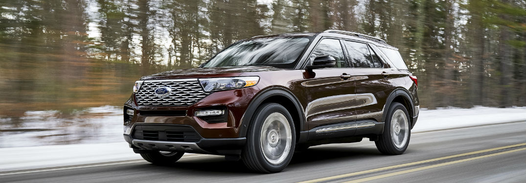 side view of a maroon 2020 Ford Explorer