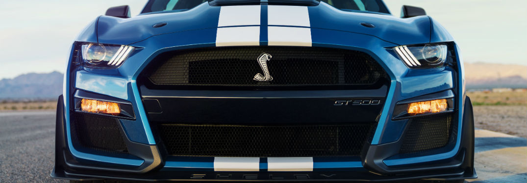 front grille on a blue 2020 Ford Mustang