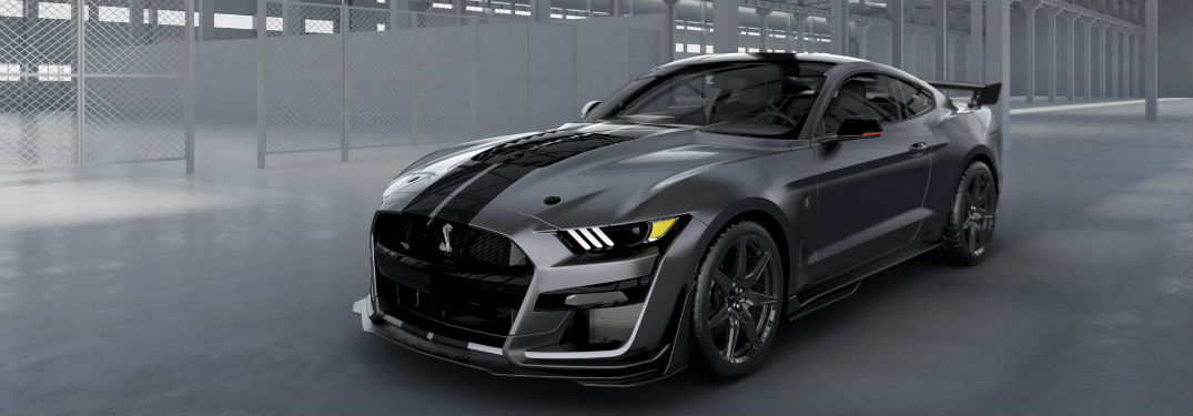 side view of a gray 2020 Ford Mustang Shelby GT500