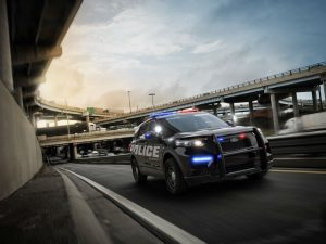 front view of a Ford police SUV