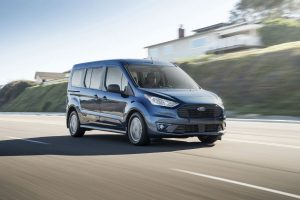 front view of a blue 2020 Ford Transit Connect