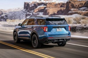 rear view of a blue 2020 Ford Explorer