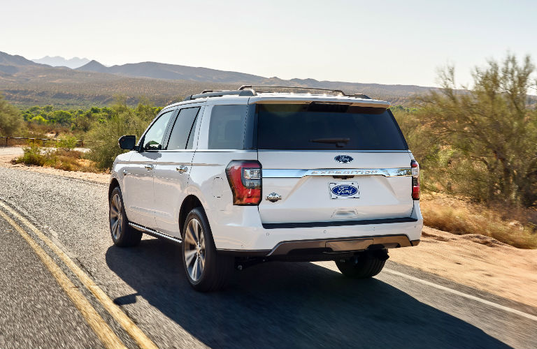 rear view of a white 2020 Ford Expedition King Ranch
