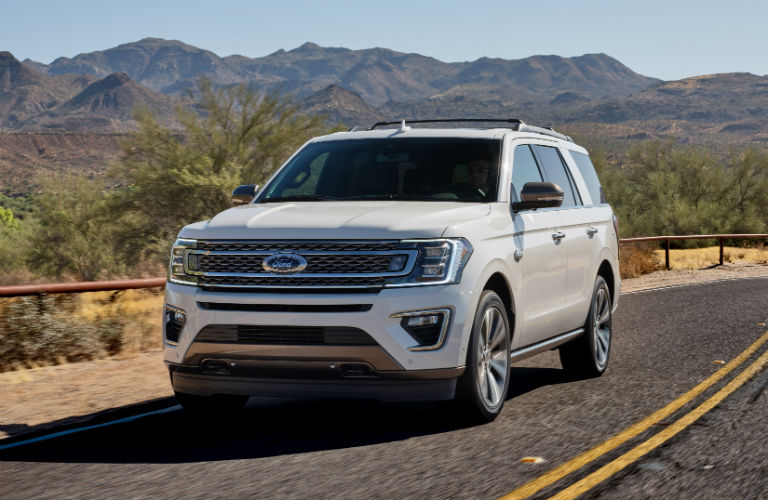 front view of a white 2020 Ford Expedition King Ranch