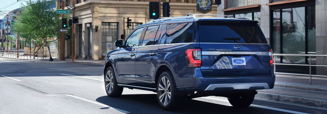 rear view of a blue 2020 Ford Expedition