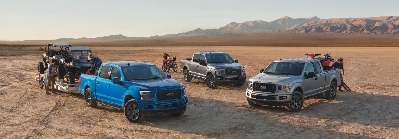 three 2020 Ford F-150 models