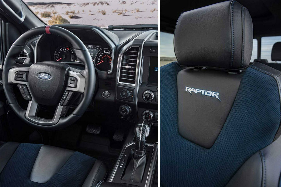 front interior details in a 2020 Ford F-150 Raptor