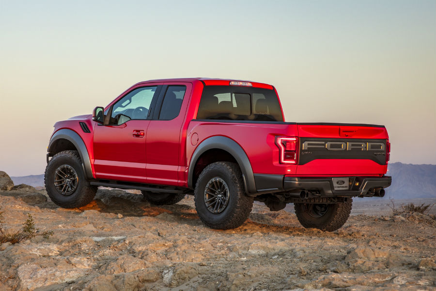 side-view-of-a-red-2020-Ford-F-150-Raptor