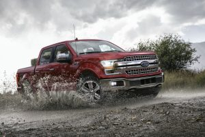 side view of a red 2020 Ford F-150