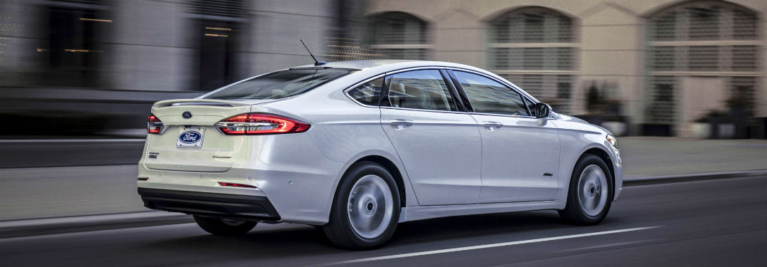 side view of a white 2020 Ford Fusion