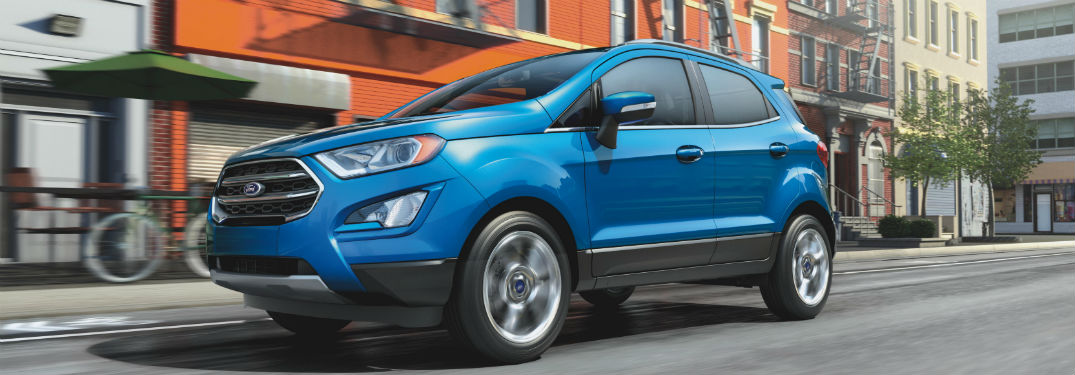side view of a blue 2020 Ford EcoSport