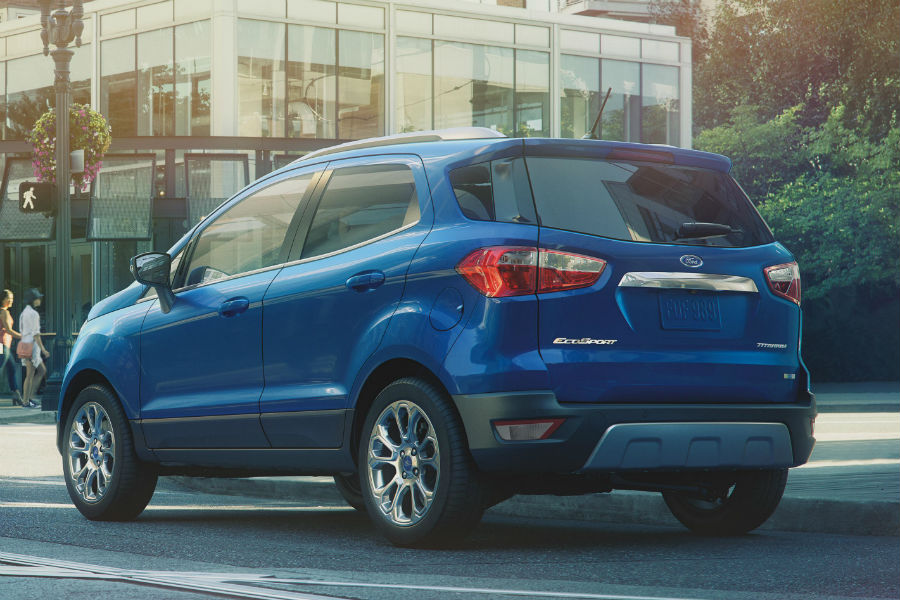 rear view of a blue 2020 Ford EcoSport