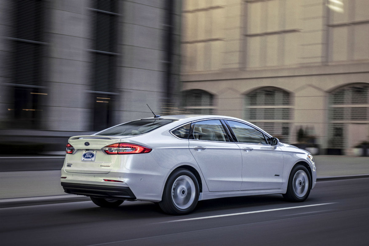 rear view of a white 2020 Ford Fusion