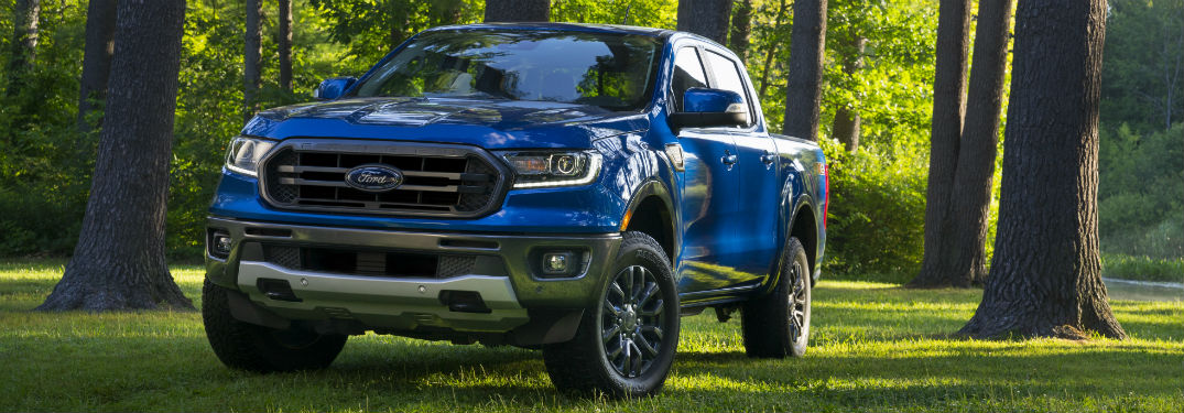 front view of a blue 2020 Ford Ranger