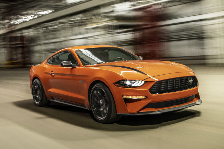 front view of an orange 2020 Ford Mustang_o - Brandon Ford